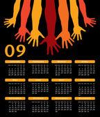 Ger händer 2009 vektor kalender. — Stockvektor