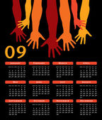 Giving hands 2009 vector calendar. — Stock Vector