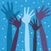 Happy festive winter hands vector. — Stock Vector