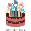 Happy birthday cake hands vector. — Imagen vectorial