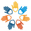 Colorful united loving hands design. — Stock Vector
