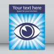 Striking eye sunburst leaflet design with copy space. — Stock Vector