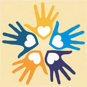 Cirkel van liefdevolle handen overlappende — Stockvector