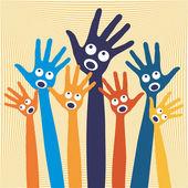Joyful singing hands — Stock Vector