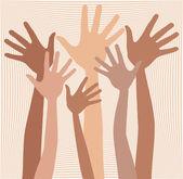 Happy hands in skin tones vector — Stock Vector