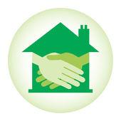 Property or real estate handshake design. — Stock Vector