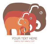 Elephant family unit. — Stock Vector