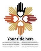 United hands and hearts with copy space vector. — Vettoriale Stock