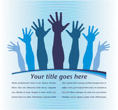 Reaching hands with text space vector. — Stock Vector