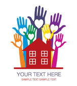 House party design with colourful hands — Stock Vector