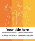 Ilustración de línea simple de manos folleto diseño. — Vector de stock