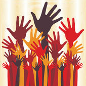 Large group of happy hands vector. — Stock Vector