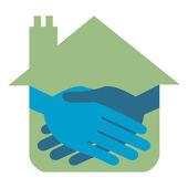 Eigenschaft oder immobilien-handshake-design. — Stockvektor