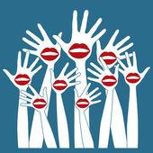 Lábio mãos festa design. — Vetor de Stock