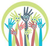 Handen met gelukkig gezichten ontwerp. — Stockvector
