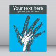 Textured overlapping hands leaflet or flier design. — Stock Vector