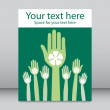 Vote green hands leaflet design vector. — Stock Vector