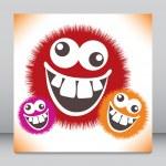 Crazy furry funny face cartoon design. — Stock Vector