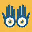 Hands with large eyes design vector. — Stock Vector