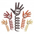 Stock Vector: Crazy face hands on springs design.