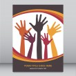 Stock Vector: Happy hands leaflet design.