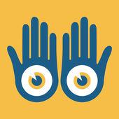 Manos con los ojos grandes diseño vectorial. — Vector de stock