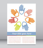United hands and hearts with copy space vector. — Stock Vector