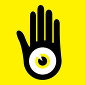 Hand with large eye design vector. — Stock Vector