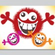 Crazy furry funny face cartoon design. — Stock Vector #26660165