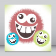 Crazy furry funny face cartoon design. — Stock Vector #26660219