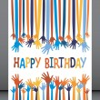 Excited hands birthday card design. — Stock Vector #26666495