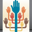 Stock Vector: Working together hands leaflet design.