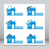 Six red vector house icons or logos. — Stock Vector