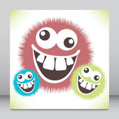 Crazy furry funny face cartoon design. — Stock Vector