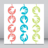 Hanging hand circles design. — Stock Vector