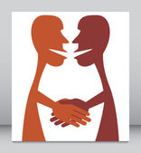 Two shake hands. — Stock Vector