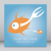 Fork tailed fish design with text space. — Stock Vector