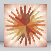 Circle of overlapping hands — Stock Vector