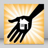 Main tenant un design d'icône de maison. — Vecteur