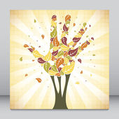 Leaves falling from a hand shaped tree vector. — Stock Vector