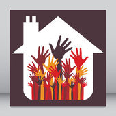 House party design with happy hands. — Stock Vector