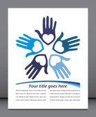 Circle of loving hands with copy space vector. — Stock Vector