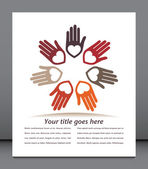 United hands and hearts with copy space vector — Vector de stock