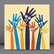 Joyful singing hands. — Imagen vectorial