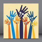 Joyful singing hands. — Stock Vector
