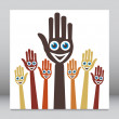 Joyful singing hands. — Stock Vector