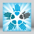 Colorful united loving hands design. - Imagen vectorial