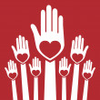 Happy loving hands — Imagen vectorial