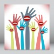 Royalty-Free Stock Vektorfiler: Lip hands party design.