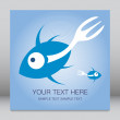 Fork tailed fish design with text space — Stock Vector